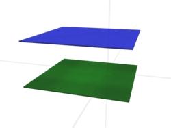 Zwei Ebenen sind parallel.